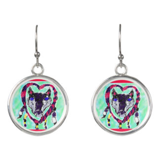 Wolf dream catcher earrings