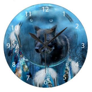 Wolf dreamcatcher - black wolf - wolf art large clock