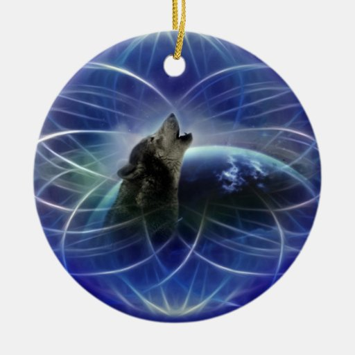 Wolf dreamcatcher christmas tree ornaments