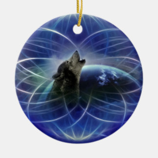 Wolf dreamcatcher christmas tree round ceramic decoration
