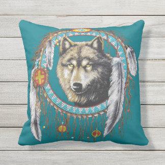Wolf Dreamcatcher Outdoor Cushion