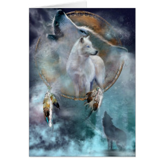 Wolf dreamcatcher - white wolf  - wolf art card