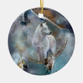 Wolf dreamcatcher - white wolf  - wolf art ceramic ornament