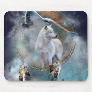 Wolf dreamcatcher - white wolf  - wolf art mouse pad