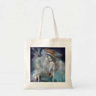 Wolf dreamcatcher - white wolf  - wolf art tote bag