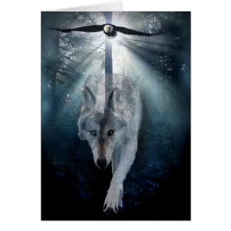 Wolf & Eagle Wildlife Support Blank Greeting-card Greeting Card