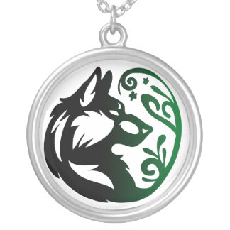Wolf Element Tribal -Earth- Silver Plated Necklace