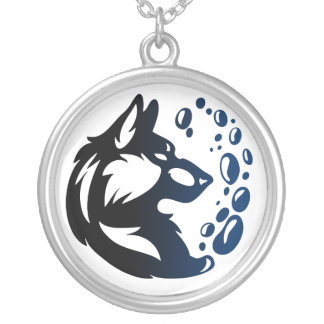 Wolf Element Tribal -Water- Round Pendant Necklace