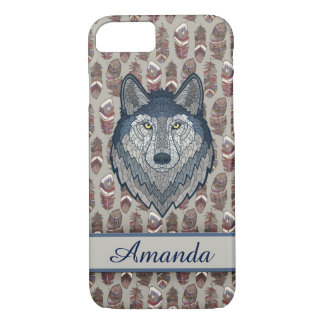 Wolf Ethnic design Customize with your name iPhone 7 Case