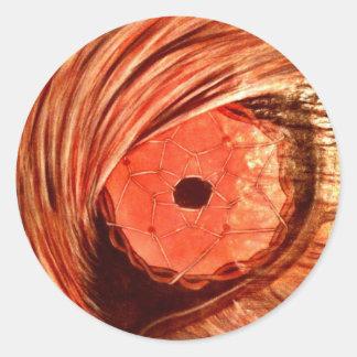 Wolf Eye orange Classic Round Sticker