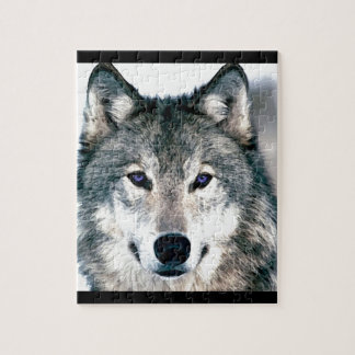Wolf Eyes in woods wild nature animal Print Puzzles