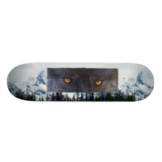 WOLF EYES Wildlife Mountains Custom Skate Board