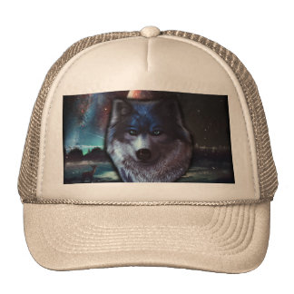 Wolf face in space,Blue wolf painting Cap