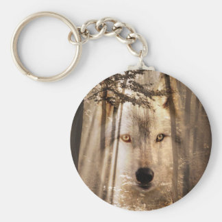 Wolf face in the woods key ring