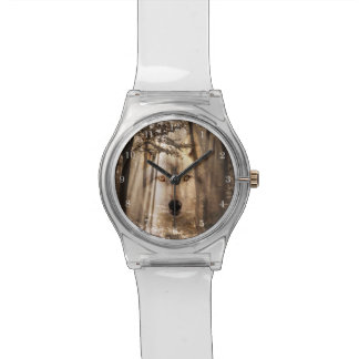 Wolf face in the woods watch