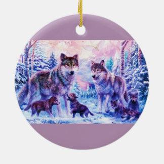 Wolf Family Ceramic Ornament