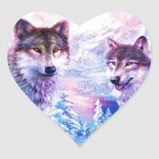 Wolf Family Heart Sticker