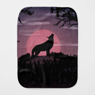 wolf full moon burp cloth