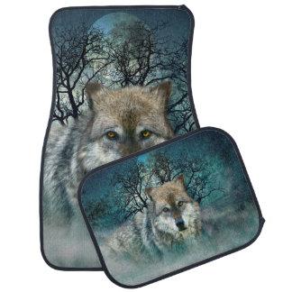 Wolf Full Moon in Fog Floor Mat