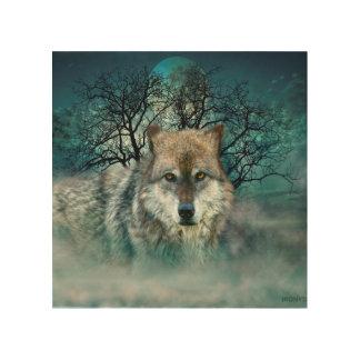 Wolf Full Moon in Fog Wood Print