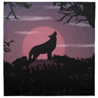 wolf full moon napkin