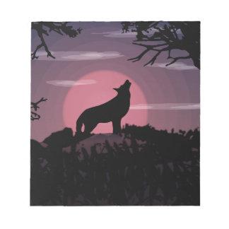 wolf full moon notepad