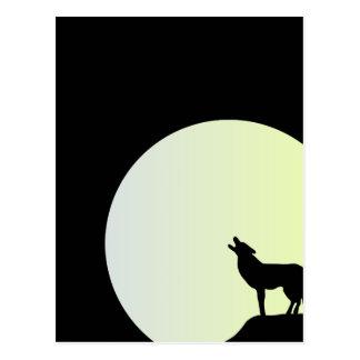 wolf full moon postcard
