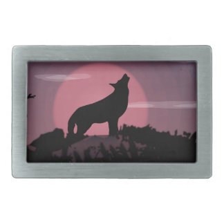 wolf full moon rectangular belt buckle