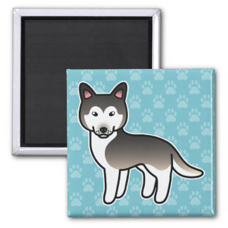 Wolf Grey Cartoon Siberian Husky Fridge Magnet