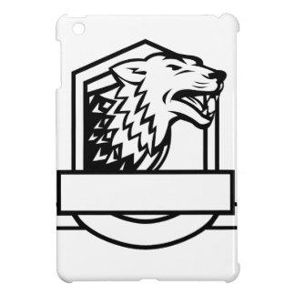Wolf Growling Crest Retro iPad Mini Cover