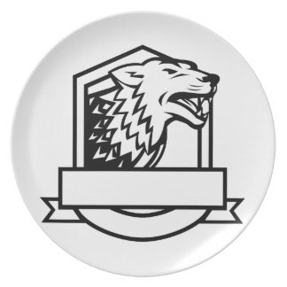 Wolf Growling Crest Retro Plate