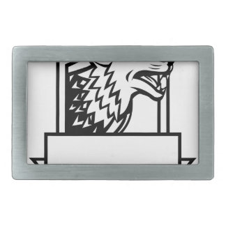 Wolf Growling Crest Retro Rectangular Belt Buckles