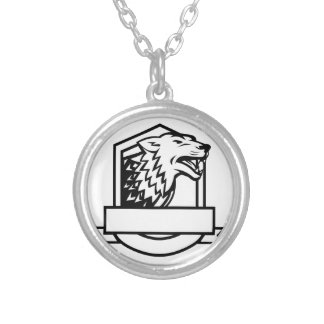 Wolf Growling Crest Retro Silver Plated Necklace