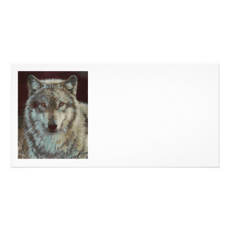 Wolf hand painted customised photo card