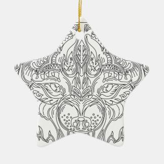 wolf head ceramic star decoration