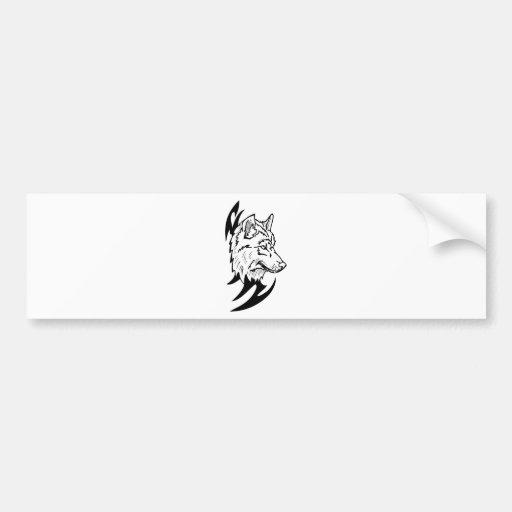 Wolf Head Design Bumper Sticker