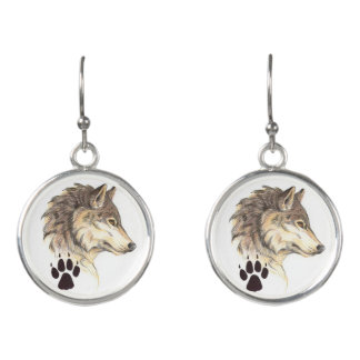 Wolf Head Profile Earrings