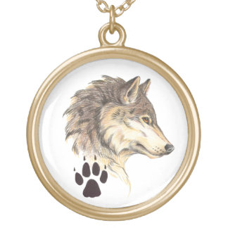Wolf Head Profile Gold Plated Necklace
