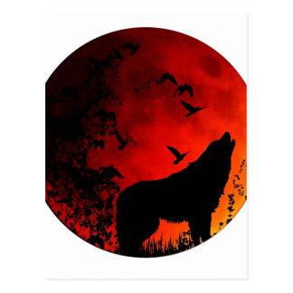wolf howl postcard