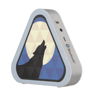 Wolf Howling At Big Moon With Triangle Design Speaker