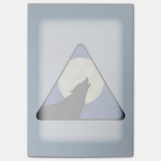 Wolf Howling At Big Moon With Triangle Design Post-it Notes