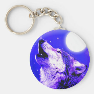 Wolf Howling at Moon Basic Round Button Key Ring