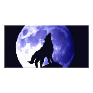 Wolf Howling at Moon Custom Photo Card