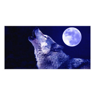 Wolf Howling at Moon Customised Photo Card