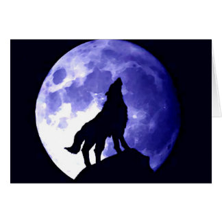 Wolf Howling at Moon Greeting Card