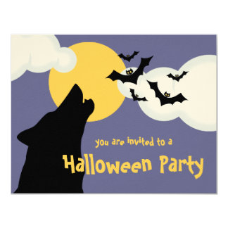 Wolf Howling At Moon Halloween Party Invitation