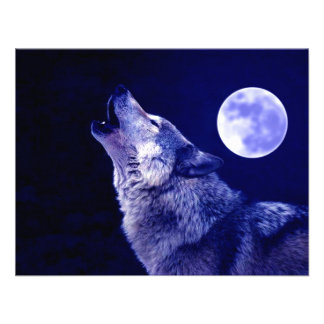 Wolf Howling at Moon Personalized Invite