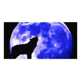 Wolf Howling at Moon Personalized Photo Card