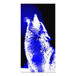 Wolf Howling at Moon Photo Greeting Card