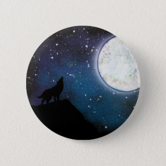 Wolf Howling at Moon Spray Paint Art Painting 6 Cm Round Badge